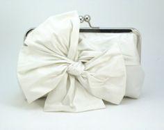 Ivory Bridal Clutch / Bow Clutch / Ivory Wedding Clutch {Classic Bow Clutch : Ivory Silk}