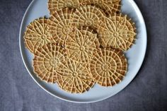 Meyer Lemon Pizzelle - we halved and added a healthy tsp of amaretto (and tried lemon zest too). flavorful and good texture but not necessarily the flavors we put in. Pizzelle Cookies, Tea Cookies, Italian Cookie Recipes, Italian Cookies, Italian Foods, Italian Desserts, Beignets, Sweets, Cookies