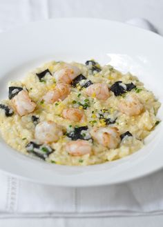 Not your regular risotto - this one's made with basmati. Tomislav's Basmati Risotto with Grilled Prawns, Chives and Lemon. Seafood Recipes, Cooking Recipes, Rice Recipes, Grilled Prawns, Dinners To Make, Recipe Collection, Main Meals, Pasta Dishes, Great Recipes