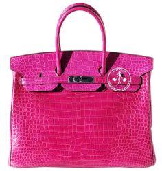 Hermes Shiny Fuchsia Porosus Crocodile Birkin Handbag - Pre-Owned New Handbags, Hermes Handbags, Handbags On Sale, Vintage Bags, Vintage Handbags, Fuchsia, Pink, Crocodile, Handbag Accessories