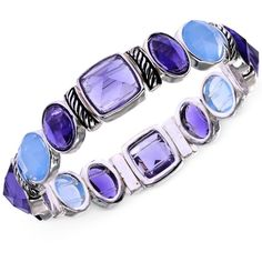 Jones New York Silver-Tone Blue Stone Stretch Bracelet ($36) ❤ liked on Polyvore featuring jewelry, bracelets, bracelets/bangles, accessories, purple, purple stone jewelry, hinged bangle bracelet, stretchy bracelet, blue bracelet and blue stone jewelry
