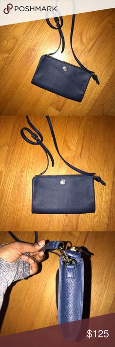 Tory Burch Crossbody Bag Navy blue with gold hardware small leather bag new never used Tory Burch Bags Crossbody Bags