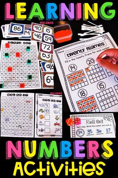 Fun learning numbers games and activities to build math skills in engaging ways! Great ways to practice teen numbers, counting forward, numbers to 100 and 120, and so many more kindergarten and first grade concepts! Number Sense Activities, Fun Math Activities, Kindergarten Math Worksheets, Number Games, Teaching Math, Kindergarten Teachers, Learning Numbers, Fun Learning, Math Skills