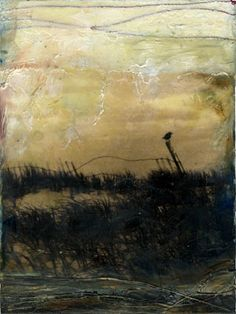 """waiting"", encaustic mixed media/ by bgmills. I'm fascinated by encaustic lately. Would love to try it."