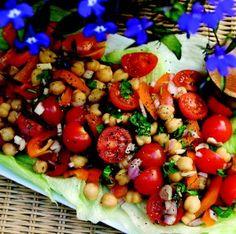 Cherry Tomato, Chickpea & Orange Pepper Salad from Miriam Sorrell's Mouthwatering Vegan #vegan