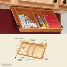 Cabinet Storage Organizers: Flip-Down Paper Tray Simple Kitchen Cabinets, Kitchen Cabinet Drawers, Kitchen Cabinet Organization, Storage Cabinets, Kitchen Storage, Cupboards, Cabinet Boxes, Under Cabinet Storage, Kitchen Organizers