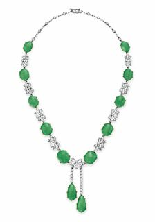 A Belle Époque jade and diamond necklace, circa 1910.