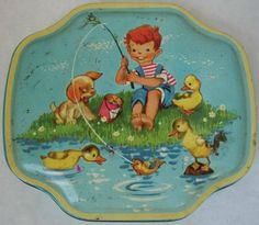 Vintage retro Horner aqua collectors tin with boy fishing, ducks and a puppy 1950's