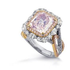 Extraordinary Fancy Pink Radiant Diamond Ring, SKU 275696 (5.64Ct TW)