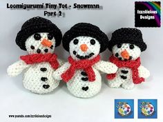 Loomigurumi Snowman Scarf (Pt 2) Tiny Tot Christmas Figure - amigurumi w/ Rainbow Loom Bands - YouTube