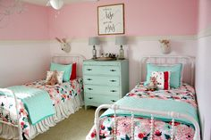 This past week was my Spring Break (I'm a kindergarten teacher) and I decided to tackle a mini makeover for the bedroom that my two little girls share. I love doing this sort of thing, you know.redecorating every chance I get? Sister Bedroom, Big Girl Bedrooms, Girl Rooms, Shared Bedroom Girls, Teen Bedroom, Colors For Girls Bedroom, Girls Room Curtains, Teenage Bedrooms, Comfy Bedroom