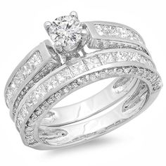Round center and princess cut diamond bridal set ring14-karat white gold jewelryClick here for ring sizing guide