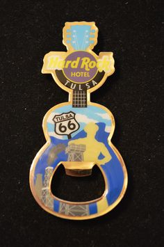 HARD ROCK HOTEL TULSA Limited Edition Rt 66 BOTTLE OPENER GUITAR MAGNET - NEW  #PinsButtons