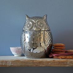 I can't wait to have this sitting on my kitchen counter!!!!mMetallic Owl Cookie Jar #WestElm