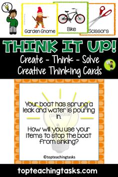 These Create – Think – Solve Creative Thinking Task Cards were designed to provide many opportunities for creative thinking in your classroom! By working to solve the problem in each scenario, students are challenged to use 'out of the box' and imaginative ideas to communicate their solution to others. Use as a Creative Thinking Whole Class exercise, for Daily Writing Prompts, Explanation Writing, Impromptu Speeches, Class Debates – the possibilities are endless!