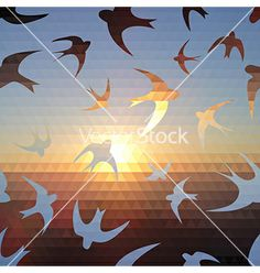 Swallow silhouette on triangle sky and sun vector by Little_cuckoo on VectorStock®
