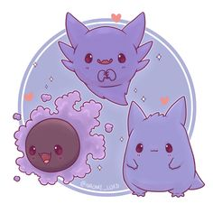 ❤️✨ As part of my chibi founders series! Only Helga left! Pokemon Gengar, Fan Art Pokemon, Baby Pokemon, Ghost Pokemon, Creepy Pokemon, Cute Animal Drawings, Kawaii Drawings, Cute Drawings, Cute Ghost