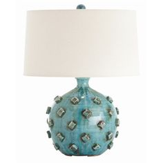 Umberto Turquoise Hand Thrown Terracotta Lamp