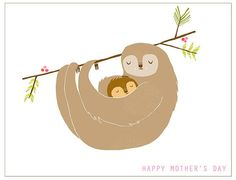Sloth Mama  greeting card by laurageorge on Etsy, $4.00