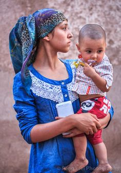 Uyghur Mother & Son @ Old City of Kashgar Islamic City, Kids Around The World, Old City, Central Asia, Mother And Child, Sons, African, Culture, Costumes