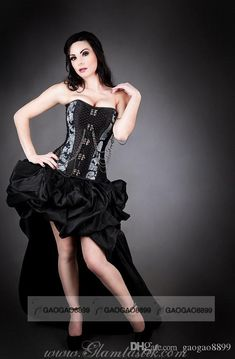Cream Prom Dresses Custom Size Black And Gray Chain Steampunk Burlesque Corset With Bustled Train High Low Prom Dress Punk Ruffles Gothic Party Gown Teen Prom Dresses From Gaogao8899, $120.63| Dhgate.Com