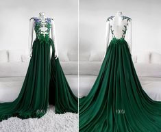 Herbarium Meadow Gown by Askasu Pretty Outfits, Pretty Dresses, Beautiful Dresses, Fantasy Gowns, Green Gown, Character Outfits, Slytherin, Dream Dress, Elegant Dresses