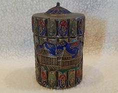 "Antique Chinese Bronze Cloisonne Tobacco Opium Jar, Handmade Late Qing Dynasty Early Republic of China, 4"" High, Rare"
