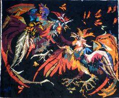 Antiquité Tapisserie d'Aubusson Art Moderne par Jean Lurçat combat de coqs (Vue du revers de la tapisserie)