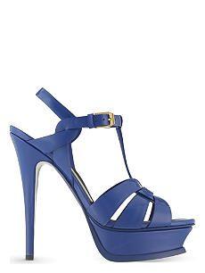 SAINT LAURENT Tribute 105 patent-leather heeled sandals