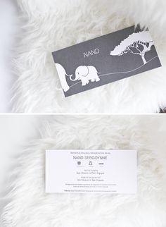 © Studio Kriek - There's a new kiddo in town! Welcome, And! #itsaboy #newborn #baby #antwerp #birth #announcement #card #geboortekaartje #geboortekaartjes #letterpress #grey #pantone #design #graphicdesign #elephant #olifant #studiokriek #vector #illustration #nature