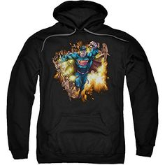 Superman Blasting Through Mens Pullover Hoodie - http://bandshirts.org/product/superman-blasting-through-mens-pullover-hoodie/