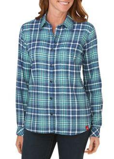 Long Sleeve Plaid Flannel Shirt by Dickies Plaid Flannel, Flannel Shirt, Dickies Workwear, Plaid Shirt Women, Plaid Outfits, Shirt Sale, Material Girls, 1 Oz, Dark Denim