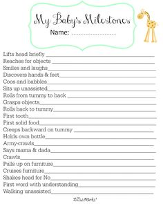 Track Baby's Major Milestones with this FREE printable| AllThatSrocks.com| She's making a whole baby book!
