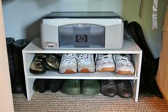 Use a shoe holder as a printer stand to save on storage room! // www.rappsodyinrooms.com