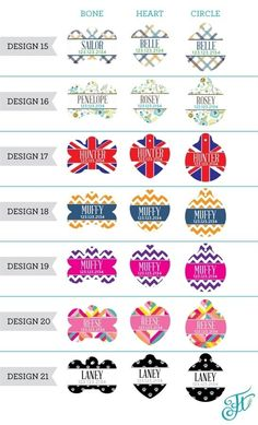 """Dress up your beloved animal with these fun and colorful Personalized Pet ID Tags. Each tag is customized with your Pet's name and a phone number with the design of your choice. The tags are available in a bone or heart shape and are made of lightweight aluminum.Dimensions: Heart : 1.25"""" x 1.375""""Bone : 1.5"""" x 1""""Circle :1.25"""" diameterAt checkout please include the following information: Design ChoiceTag ShapePet's NamePhone Number ** ** If you do not wish to have a phone number please l..."""