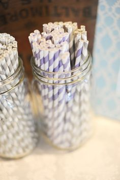 I <3 Purple and Gray Striped Straws