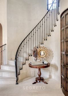 Plaster Walls, Finishes and Segreto Stone: French Country Inspiration! Wait til you see these Old World, Plaster Walls, Finishes and Segreto Stone from Segreto Finishes! French Country Interiors, Country Interior Design, French Country Decorating, Interior Design Inspiration, Iron Staircase Railing, Stair Railing Design, Iron Railings, Staircases, Interior Railings