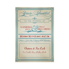 Faire-part de mariage blanc et bleu rouge vintage par foreverwedding