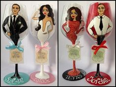 Bridal Wedding Party Hand Painted Wine Glass Party by AlenaShop