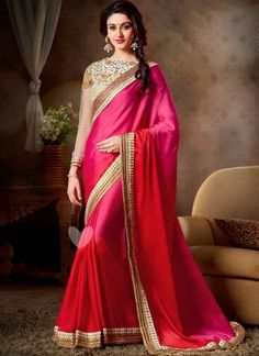 Mintorsi Magenta Pure Satin Georgette Fancy Saree