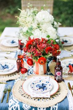 This of july bbq puts a fun twist on red, white and blue 4. Juli Party, 4th Of July Party, Fourth Of July, 4th Of July Decorations, Table Decorations, Centerpieces, Patriotic Party, Patriotic Crafts, July Wedding
