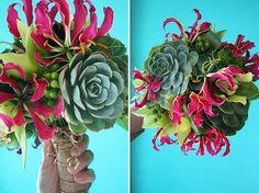 texture, unusual, bright, fun, interesting, succulents, gloriosa lily, burlap wrap, berries, wedding bouquet, modern wedding, midcentury wedding, retro wedding, colorblocking wedding, bright centerpieces, 70's wedding flowers