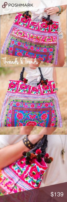 """Handmade Embroidered Tapestry Tote Embroidered handcrafted woven bag, adorned with boho pom poms. Brighten your day with this eye popping colorful display. It holds everything. Also features a zippered opening and inside zipper pocket. Use as a purse, weekender tote, makes a fabulous diaper bag too.   Length - 20""""  Height - 14""""  Pom Pom Strap - 25"""" Threads & Trends Bags Totes"""