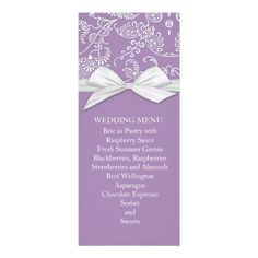Planning the perfect wedding? Make your big day even more special with Zazzle's amazing selection of Elegant wedding menu cards. Find your perfect wedding menus today! Damask Wedding, Elegant Wedding, Perfect Wedding, Shabby Chic Wedding Invitations, Raspberry Sauce, Chocolate Espresso, Wedding Menu Cards, Beef Wellington, Sorbet