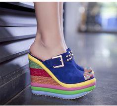 Cheap Sweety Wedge Heel Peep Toe Platform Sandal