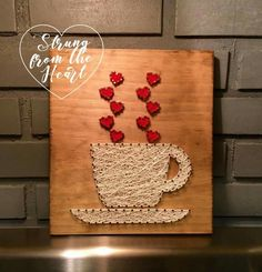 Coffee Cup string art sign by Strung from the Heart