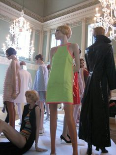 Group of 1960s minidresses designed by John Bates for Jean Varon, including a 1966 fluorescent green micro-mini worn by Marit Allen.[1] Exhibited at the Fashion Museum, Bath, 2006