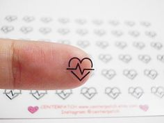 Clear Heartbeat Planner Stickers, Heart Wave Stickers, Heart Stickers, Health Stickers, Erin Condren Planner Stickers, Transparent (st269#) by CENTERPATCH on Etsy