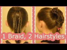 Split fishtail braid ponytail hairstyle tutorials.