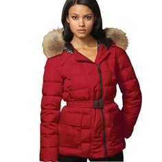 94c5cce93088 Moncler Down Nantes Hooded Red Jacket Women On Sale - Front zipper -  Allover horizontal quilting - Front pockets - Three-quarter length -  Polyester Nylon  ...